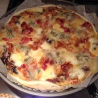 Torta radicchio, gorgonzola e pancetta croccante